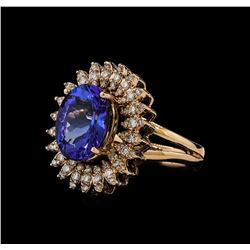 5.91 ctw Tanzanite and Diamond Ring - 14KT Rose Gold