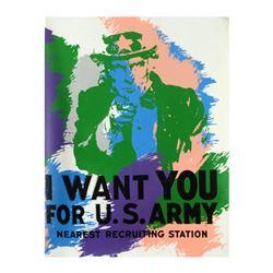 "Steve Kaufman (1960-2010), ""Uncle Sam"" Hand Painted Limited Edition Silkscreen o"