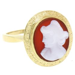 Vintage 14kt Yellow Gold Carved Shell Cameo Ring w/ Detailed Border