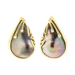 0.10 ctw Diamond and Black Mother of Pearl Teardrop Earrings - 14KT Yellow Gold