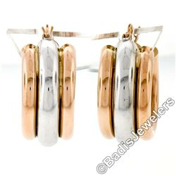 New 14kt Rose & White Gold Triple Puffed Tube Round Hoop Earrings