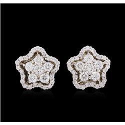 0.92 ctw Diamond Earrings - 14KT White Gold