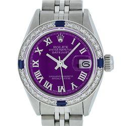 Rolex Ladies Stainless Steel Purple Diamond & Sapphire Datejust Wristwatch 26MM