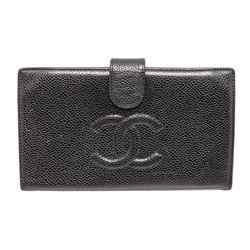 Chanel Black Caviar Leather Timeless French Purse Wallet