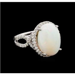 9.20 ctw Opal and Diamond Ring - 14KT White Gold