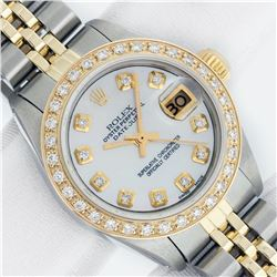 Rolex Ladies 2 Tone MOP Diamond Datejust Wristwatch With Rolex Box