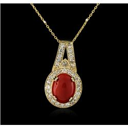 14KT Yellow Gold 6.16 ctw Coral and Diamond Pendant With Chain