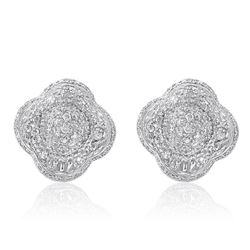 18k White Gold 0.99CTW Diamond Earrings, (VS2-SI1/H-I)
