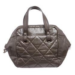 Chanel Gray Quilted Vinyl Bowling Satchel Handbag