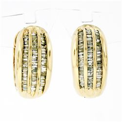 14K Yellow Gold 1.10 ctw 3 Row Channel Baguette Cut Diamond Hoop Huggie Earrings