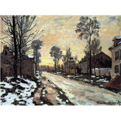 Claude Monet - Road to Louveciennes, Melting Snow Children, Sunset