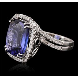 18KT White Gold GIA Certified 10.65 ctw Tanzanite and Diamond Ring