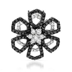 18k White Gold 0.87CTW Diamond and Black Diamonds Pendant, (SI2-SI3/H-I)