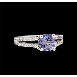 1.48 ctw Tanzanite and Diamond Ring - 14KT White Gold