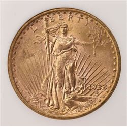 1922 $20 Gold Saint Gaudens Coin