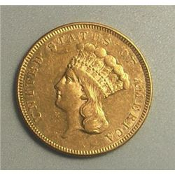 1885 Rare $3 Gold Princess Collectible Coin