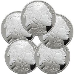 (5) 1 oz. Buffalo Design Silver Rounds