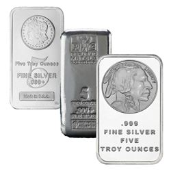 (1) Random Maker 5 oz. Silver Bar . 999 Pure