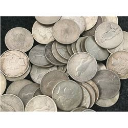 Lot of 35 Peace Silver Dollars - Assorted Dates