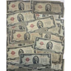 Lot of (18) 1928 $2 Red Seal US Notes