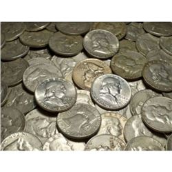Lot of 50 Random Date Franklin Half Dollars