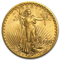 1908 D No Motto $20 Gold Saint Gaudens
