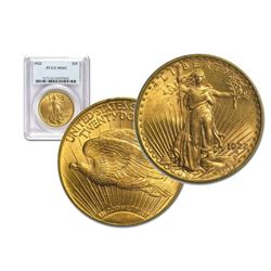 1922 MS 62 PCGS $20 Gold Saint Gaudens