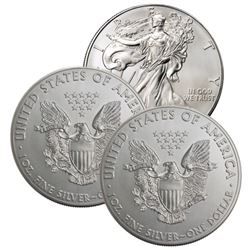 (3) US Silver Eagles - Random Dates BU Grade