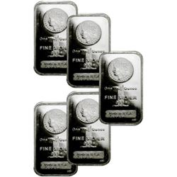 (5) 1 oz. Morgan Design Silver Bars -.999 Pure