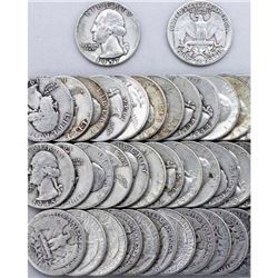 (40) 90% Silver Washington Quarters 1964-earlier