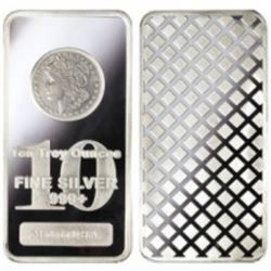 10 oz . Morgan Design Solid Silver Bar