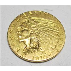 1910 $2.5 Gold Indian Quarter Eagle