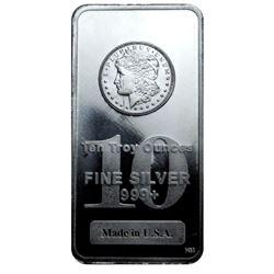 10 oz. Silver Morgan Design Bar -.999 Pure
