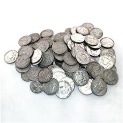 (50) Franklin Half Dollars - 90% Silver 1964 -pre