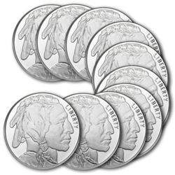 Lot of (10) Silver 1 oz. Buffalo Rounds