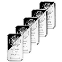 5 pc. Collection of 1 oz. Sunshine Silver Bars