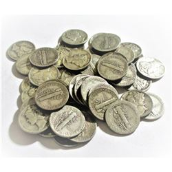50 pc. Collection of Mercury Dimes 90% Silver