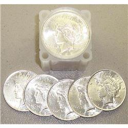 Roll of 1922-23 BU Peace Silver Dollars