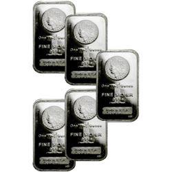 Lot of 5- Morgan Design Silver Bars 1 oz.Each