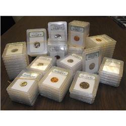 100 pcs. BU and Proof INB Slab Coins