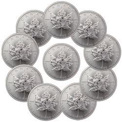 Lot of 10 Random Date 1 oz Silver Maple Leaf