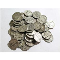 (50) Mercury Dimes -90% Silver Random Dates