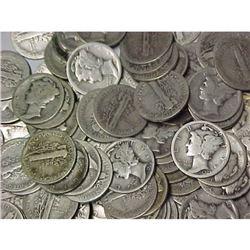 (100) Mercury Dimes- Circulated