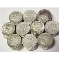 (100) Roosevelt Dimes - 90% Silver