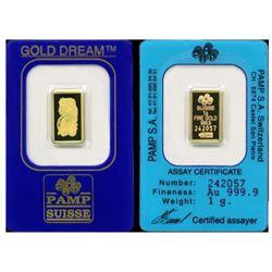 1 Gram Pamp Suisse Gold Ingot