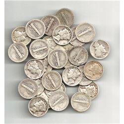 (50) Mercury Dimes 90% Silver Bullion