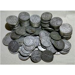(100) Walking Liberty Half Dollars -90% Silver