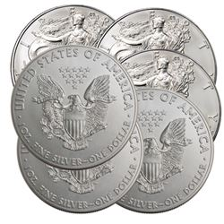 (6) US Silver Eagles - Random Dates