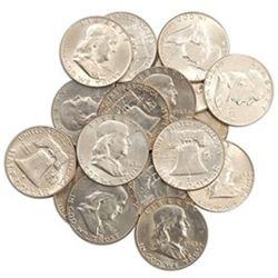 (20) Franklin Half Dollars - 90% Silver