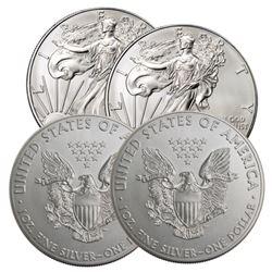 (4) US Silver Eagles - Random Dates